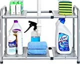 SimpleHouseware Under Sink 2 Tier Expandable Shelf Organizer Rack, Silver (expand from 15 to 25...