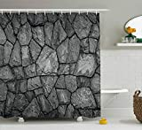 Ambesonne Grey Shower Curtain, Stone Wall Texture Image Rough Rusty Blocks Obsolete Structure...