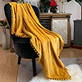 LOMAO Flannel Blanket with Pompom Fringe Lightweight Cozy Bed Blanket Soft Throw Blanket fit Couch...