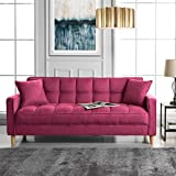 DIVANO ROMA FURNITURE Modern Linen Fabric Tufted Small Space Living Room Sofa Couch (Hot Pink)
