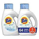 Tide Free and Gentle Liquid Laundry Detergent, 2 Pack of 50 oz., Unscented and Hypoallergenic for...