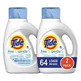 Tide Free and Gentle HE Liquid Laundry Detergent, 2 Pack of 50 oz., Unscented and Hypoallergenic for...