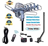 150 Miles Range-Amplified Digital Outdoor TV Antenna with Mount Pole-4K/1080p High Reception-40FT...