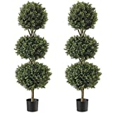 Northwood Calliger 4.6' Artificial Topiary Triple Ball Boxwood Trees Highly Realistic Potted...