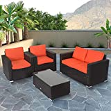 Kinbor New 4 PCs Rattan Patio Outdoor Furniture Set Garden Lawn Sofa Sectional Set Black...