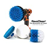 RevoClean 4 Piece Scrub Brush Power Drill Attachments-All Purpose Time Saving Kit-Perfect for...