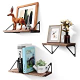 BAYKA Floating Shelves Wall Mounted Set of 3, Rustic Wood Wall Shelves for Living Room, Bedroom,...