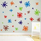 TOARTi Multicolor Paint Wall Decal (112pcs), Splatter and Splotches Wall Sticker for Classroom...