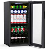 Colzer Beverage Refrigerator and Cooler - 2.9 Cu. Ft. 100 Can Drink Fridge with Glass Door for...