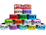 800 Count Home Moving Color Coding Labels, 4 Bedroom House + Fragile Stickers, [14 Different Living...
