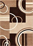 Echo Shapes & Circles Ivory / Beige Brown Modern Geometric Comfy Casual Hand Carved Area Rug 5x7 (...