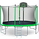 Merax 14 FT Round Trampoline with Safety Enclosure, Basketball Hoop and Ladder (Upgraded with PVC...