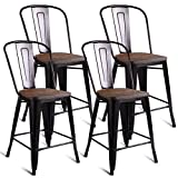 COSTWAY Tolix Style Dining Stools with Wood Seat and Backrest, Industrial Metal Counter Height...