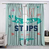 VIVIDX Sliding Door Curtain,Quotes,Encouraging Classic Phrase Notes The Start is What Stops Most...