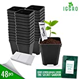 48 pcs Plastic Nursery Pot for Plants 2.75' Square x 3.25' Seed Starting/Transplant Plant Containers...
