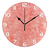 ALAZA Vintage Coral Color Round Acrylic Wall Clock, Silent Non Ticking Oil Painting Home Office...