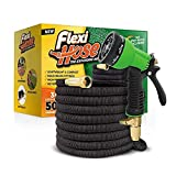 Flexi Hose & 8 Function Nozzle, 50 FT Lightweight Expandable Garden Hose | No-Kink Flexibility -...