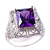 Narica Women's Charming 10mmx12mm Princess Cut Amethyst Engagement Ring