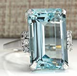 Zhiwen Vintage Fashion Women 925 Silver Aquamarine Gemstone Ring Engagement Wedding Jewelry Size...
