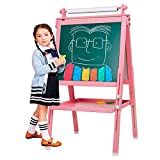 3 in 1 Wooden Kids Easel Double-Sided Magnetic Drawing Board Whiteboard & Chalkboard Dry Easel with...