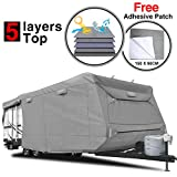 RVMasking Heavy Duty 5 Layers Top Travel Trailer RV Cover, Fits 24'1' - 26' RVs - Breathable...
