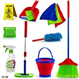Kids Cleaning Set 12 Piece - Toy Cleaning Set Includes Broom, Mop, Brush, Dust Pan, Duster, Sponge,...