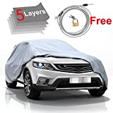 KAKIT 5 Layer Car Cover SUV Cover Durable Waterproof Windproof for Summer Outdoor, Rain, Dust, Sun...