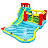 Deluxe Inflatable Water Slide Park - Heavy-Duty Nylon Bounce House for Outdoor Fun - Climbing Wall,...