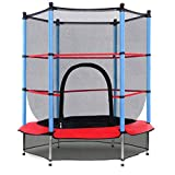 Giantex 55' Round Kids Mini Jumping Trampoline W/Safety Pad Enclosure Combo (Multicolor)...