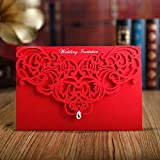 WOMHOPE 50 Pcs - Classic Red Color Laser Cut Lace Card Wedding Invitation Party Folding Invitations...