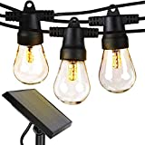 Brightech Ambience Pro - Waterproof LED Outdoor Solar String Lights - 1W Vintage Edison Bulbs - 27...