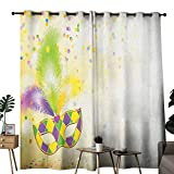 duommhome Mardi Gras Privacy Curtain Festival Mask with Ornamental Feathers Colorful Dots Confetti...