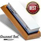 Whetstone Knife Sharpener by Gourmet Tool - Knife Sharpening Stone - Waterstone 1000-6000 Grit with...