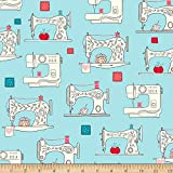 Ink & Arrow Sew What? Sewing Machines Aqua Fabric by the Yard