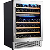 【Upgraded】Aobosi 24'' Dual Zone Wine Cooler 46 Bottle Freestanding and Built in Wine...