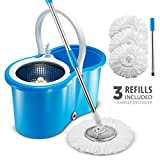 Premium All In One Stainless Steel 360 Spin Mop & Bucket System ~ Self-Wringing Mop With 3...