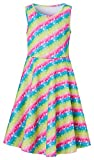 Rainbow Dresses for Little Kids GILR 4 5 Years Old 3D Floral Printed Red Yellow Blue Green Striped...
