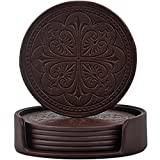 365park Drink Coasters, PU Leather Bar Beer Beverage Coasters for Drinks with Holder, Z006/Coffee,...