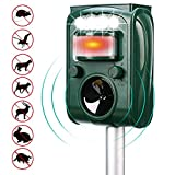 Shenlin Solar Powered Ultrasonic Animal and Pest Repeller,Waterproof Outdoor Animal Repeller with...