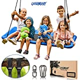 60' Giant Platform Tree Swing for Kids and Adults | Flying Outdoor Indoor Saucer Hammock | Surf Tire...