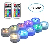 SEED 10 Pack 1.5' Round Submersible LED Lights, Exclusive 100% Waterproof Battery Operated Super...