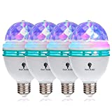 4 Pack Color Rotating Bulb E26, RGB Color Changing Party LED Bulbs Colored LED Strobe Light Bulb...