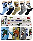 Tiny Captain Boy Dinosaur Socks 4-7 Year Old Boys Crew Cotton Sock Perfect Age 5 Gift Set (Medium,...
