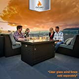 Outland Living Series 401 Brown 44-Inch Outdoor Propane Gas Fire Pit Table, Black Tempered Tabletop...