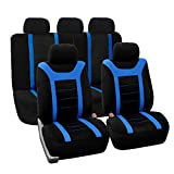 FH Group FB070BLUE115 Universal Fit Full Set Sports Fabric Car Seat Cover with Airbag & Split Ready,...