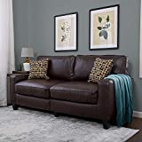 Serta RTA Palisades Collection 73' Bonded Leather Sofa in Chestnut Brown