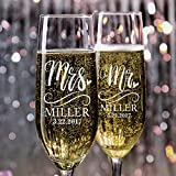 P Lab Set of 2, Mr. Mrs. Heart Last Name & Date, Personalized Wedding Champagne Flutes, Wedding...