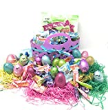 Easter Basket Gift Set: Purple Easter Basket With Ribbon, Tri - Colored Easter Grass, Metallic,...