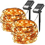 2 Pack 36 ft 100 LED Battery and Solar Powered String Light Waterproof Sliver Wire Light with 8...