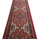 Anti-Bacterial Rubber Back Area Rugs Non-Skid/Slip 3x5 Floor Rug | Red Traditional Floral...